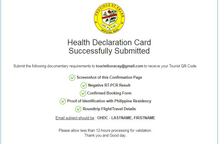 Sample Screenshot of Successfully Submitted Form