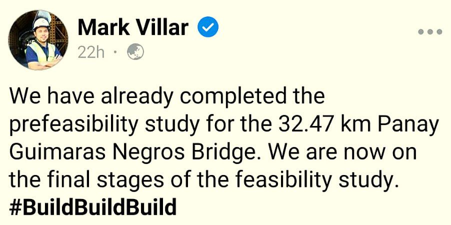 Mark Villar Facebook post about the propose bridge Panay to Guimaras Negros